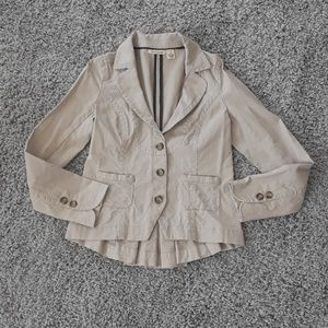 Dkny Jeans Tan Jacket with Ruffle Back Detail